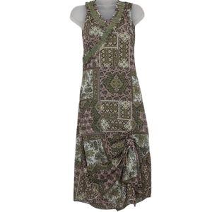 Vintage Boho Sleeveless Midi Dress w/ Ruffled Neck